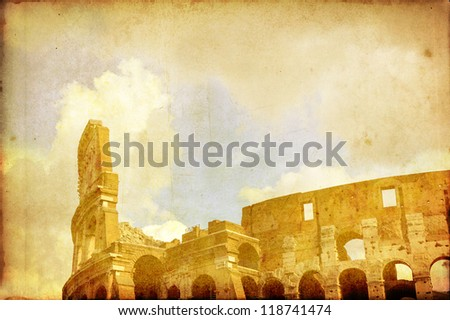 Coloseum in Rome vintage postcard - stock photo
