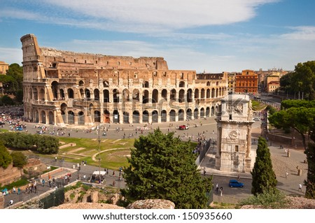 Colosseo and arc of Constantine  from Roman forum at Rome - italy