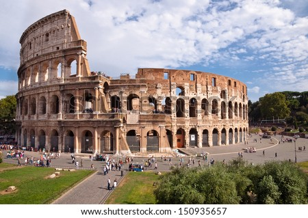 Colosseo view from Roman forum at Rome - Italy