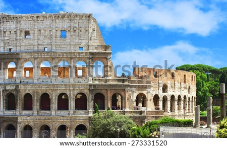 Colosseum against blue sky in Rome, Italy