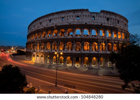 Colosseum and traffic lights - Rome, Italy
