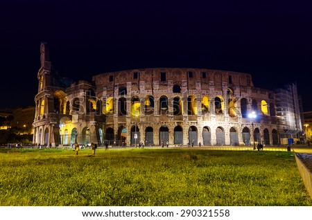 Colosseum at dusk in Rome, Italy - stock photo