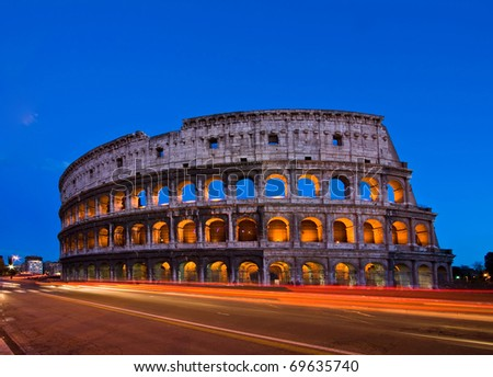 Colosseum at dusk with Light Trail, Rome - stock photo