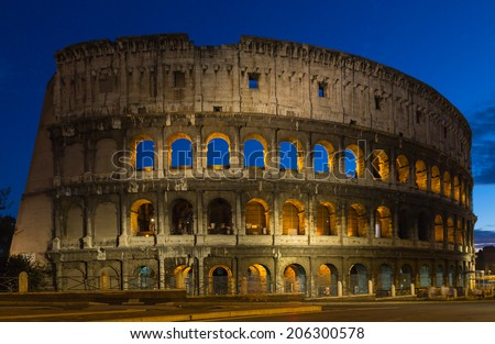 Colosseum at night in Rome.