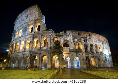 Colosseum at night in Rome - stock photo