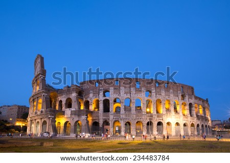 Colosseum at night in Rome ,Italy - stock photo