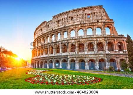 Colosseum at sunrise in Rome, Italy - stock photo