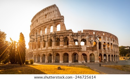 Colosseum at sunrise, Rome, Italy - stock photo