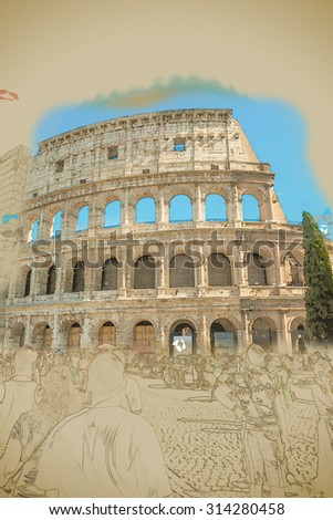 Colosseum (Coliseum) in Rome, Italy. Main tourist attraction of Rome. Travel background illustration. Painting with watercolor and pencil. Brushed artwork.