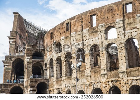 Colosseum (Coliseum) in Rome, Italy. The Colosseum is an important monument of antiquity and is one of the main tourist attractions of Rome world European architectural attractions - stock photo