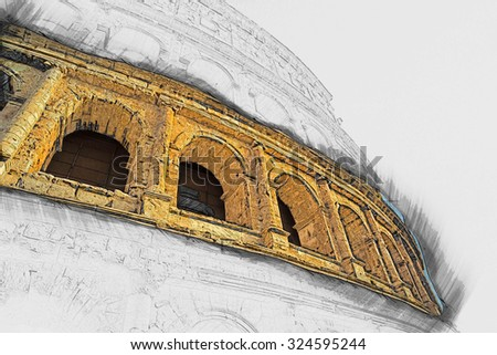 Colosseum (Coliseum) in Rome, Italy. The Colosseum is an important monument of antiquity and is one of the main tourist attractions of Rome. Painting of travel scene, pencil outlines of background. - stock photo