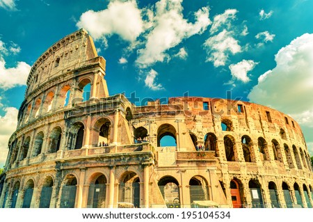 Colosseum (Coliseum) in Rome, Italy. Vintage Photo. - stock photo