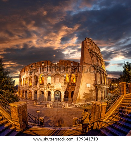 Colosseum during evening time in Rome, Italy - stock photo