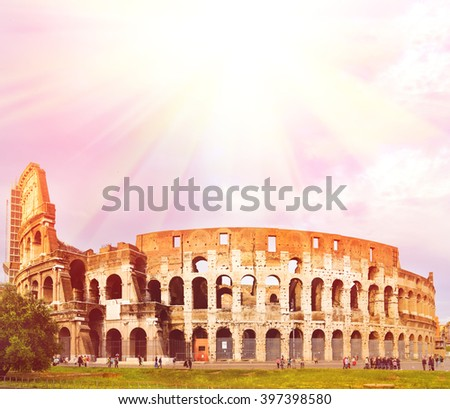 Colosseum during sunset with copy space, Rome, Italy - stock photo