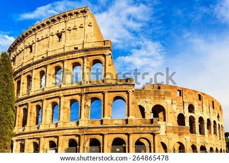 Colosseum (Flavian Amphitheatre) at sunset in Rome, Italy - stock photo