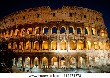 Colosseum glowing in the evening, Rome, Italy - stock photo