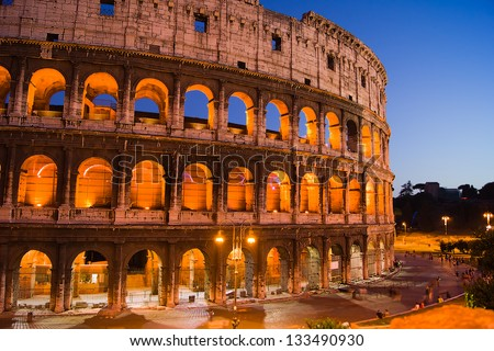 Colosseum illuminated at night. Rome, 2012/Colosseum - stock photo