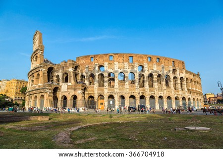 Colosseum in a summer day in Rome, Italy - stock photo