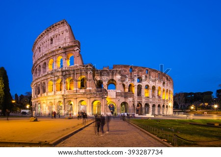 Colosseum in a summer night in Rome, Italy. - stock photo