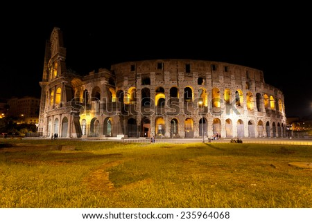 Colosseum in Rome against the stellar sky - stock photo