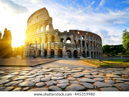 Colosseum in Rome at dawn, Italy