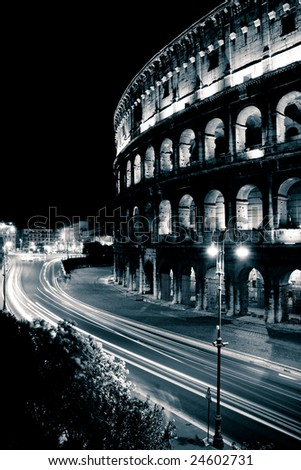 Colosseum in Rome at Night - stock photo