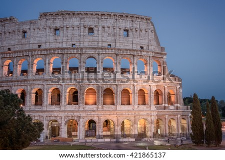 Colosseum in Rome at night, Italy. /White balance changed/