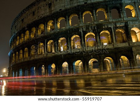 Colosseum in Rome by night - stock photo