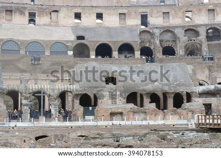 COLOSSEUM IN ROME - DECEMBER 19, 2015. The tourist sightseeing in Colosseum in Rome, Italy.