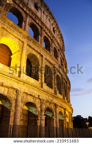 Colosseum in Rome in the evening