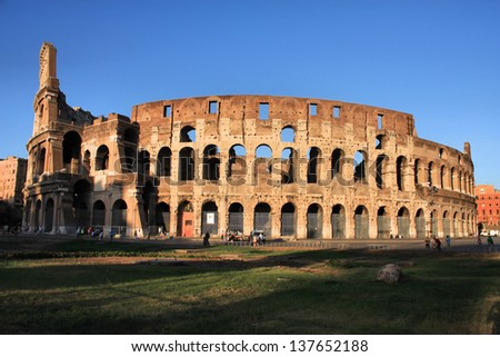 Colosseum in Rome, Italy. Early evening