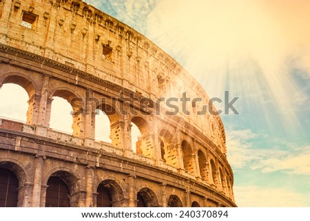 Colosseum in Rome, Italy, effect vintage