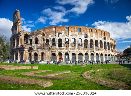Colosseum in Rome, Italy, Europe. Rome ancient arena of gladiator fights. Rome Colosseum is the best known landmark of Rome and Italy