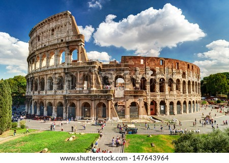 Colosseum in Rome, Italy. Roman Colosseum is one of the main travel attractions. Colosseum in the sunlight. Scenic view of Colosseum.