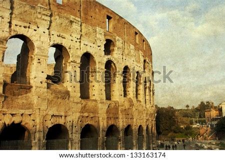 Colosseum in Rome, vintage photo - stock photo