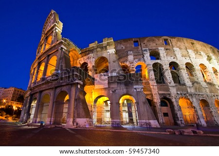 Colosseum in Twilight with ultra-wild Perspective at Dusk, Rome Italy - stock photo