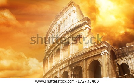 Colosseum is old, famous construction in Rome, Italy
