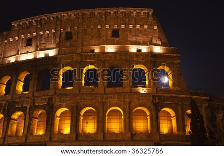 Colosseum Moon in the Window Close Up Details Rome Italy Built by Vespacian