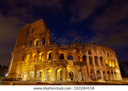 Colosseum night view. Rome,Italy.