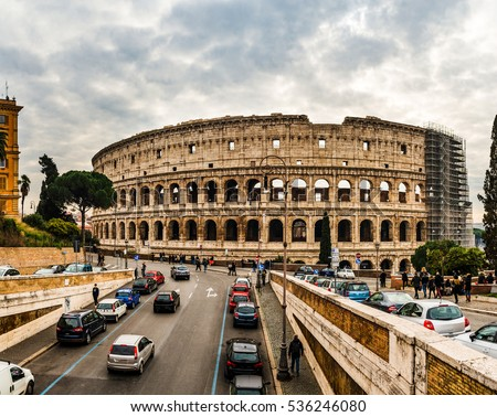 Colosseum or Coliseum, also known as the Flavian Amphitheatre, is an oval amphitheatre in the centre of the city of Rome, Italy. Built of concrete and sand, it is the largest amphitheatre.