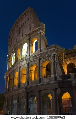 Colosseum or Roman Coliseum at dusk, Rome, Italy