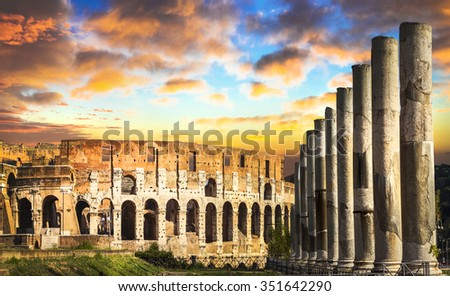 Colosseum over sunset, Rome, Italy - stock photo