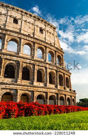 Colosseum, Rome, Italy. Coliseum known as Flavian Amphitheatre an elliptical amphitheatre largest in Roman Empire built in 80AD - stock photo