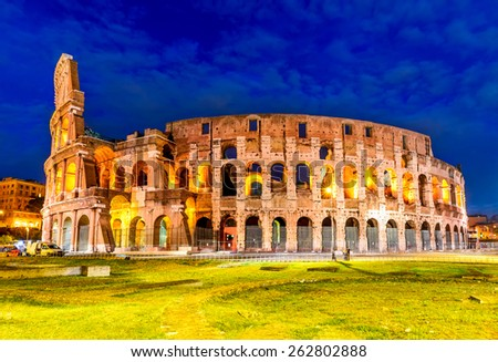 Colosseum, Rome, Italy. Twilight view of Colosseo in Rome, elliptical largest amphitheatre of Roman Empire ancient civilization. - stock photo