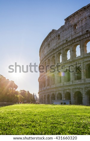 Colosseum with the beautiful sunset light, Rome, Italy.  - stock photo