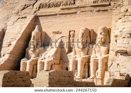 Colossus of The Great Temple of Ramesses II, Abu Simbel, Egypt - stock photo