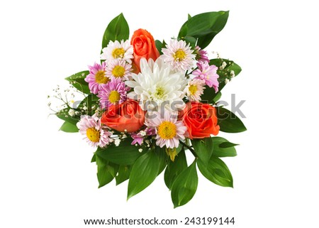 Colouful bouquet of flowers isolated on white background  - stock photo