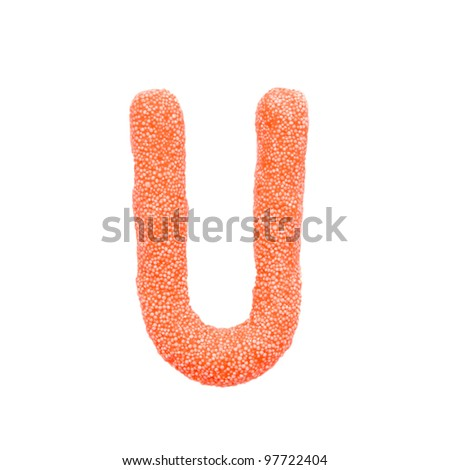 """Colour foam plasticine letter """"U"""" isolated on a white background with clipping path - stock photo"""