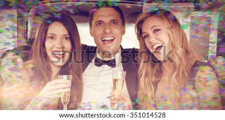 Colour frame against pretty girls with ladies man in the limousine - stock photo