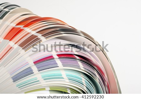 Colour guide displaying a range of hues for use in interior design and decoration, for designers and printers - stock photo